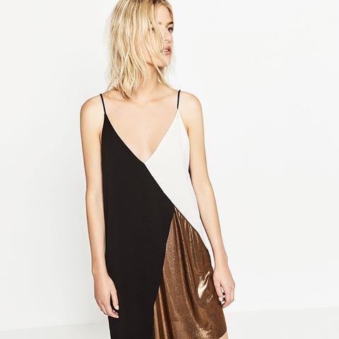 Block Colour Metallic Dress