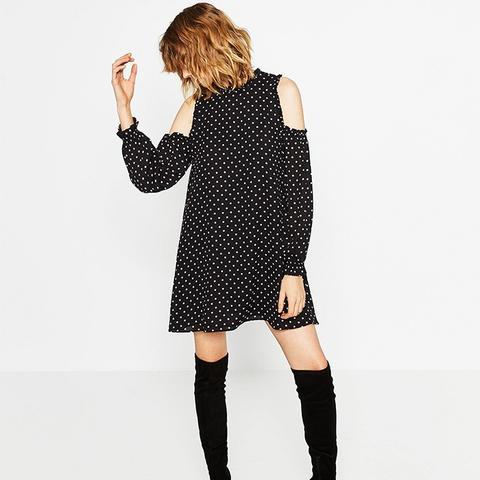 Off-the-Shoulder Polka Dot Dress