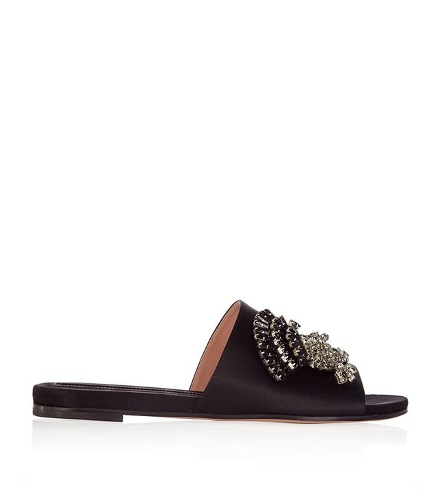 Rochas Thistle-Embellished Satin Sandals