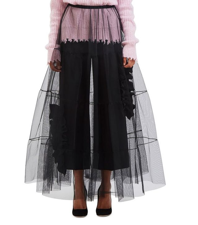 MSGM Women's Long Tiered Tulle Skirt in Black