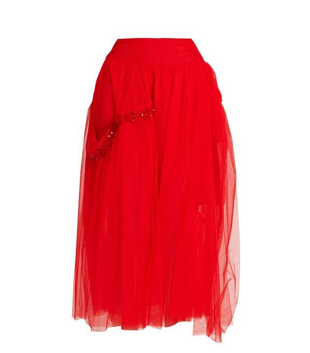 Simone Rocha Bead-Embellished Tulle Skirt