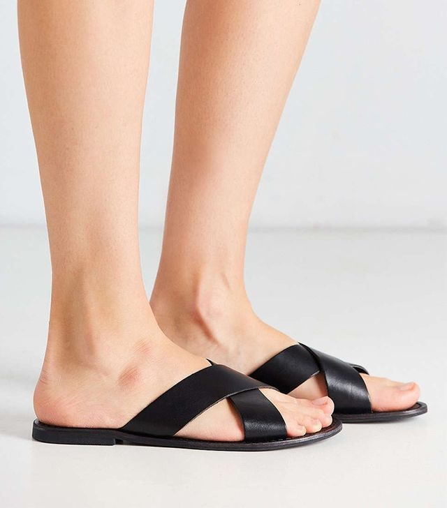 Urban Outfitters Leather Cross-Strap Slide