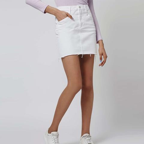 Moto White '80s Denim Skirt