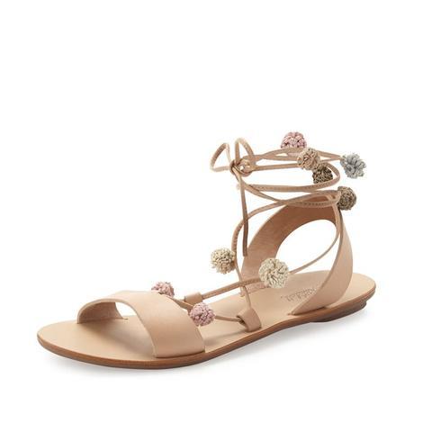 Saskia Flat Pompom Gladiator Sandal