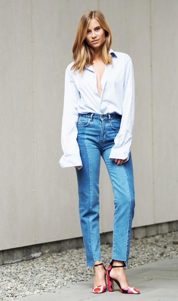 On Tine Andrea: H&M jeans; Eton Light Blue Signature Twill Shirt ($245); Valentino Red & Polka Dot Multi Pumps ($550).