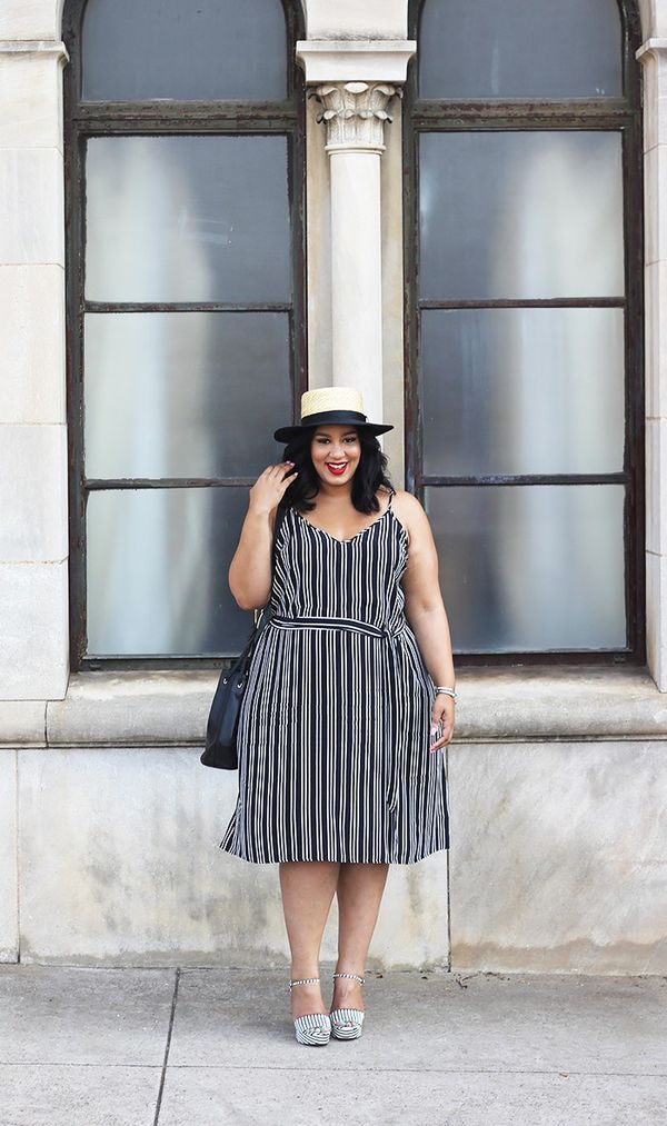On Rochelle Johnson: Who What Wear Plus Size Belted Slip Dress ($35) and Straw Boater Hat Natural With Black ($15); Chinese Laundry Abie ($50); Tory Burch bag.