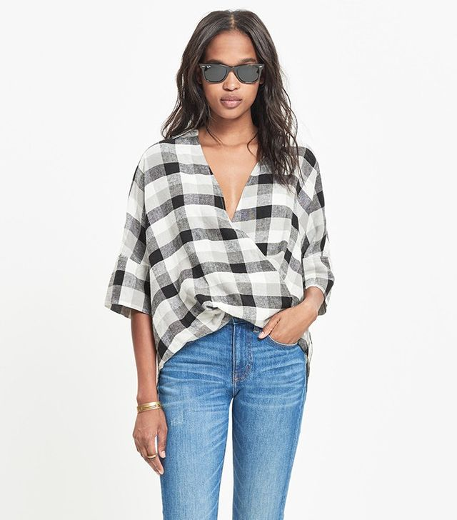 Madewell Courier Drape-Front Shirt