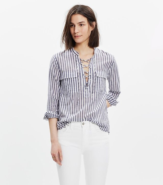 Madewell Striped Terrace Lace-Up Shirt