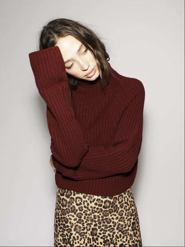 Extra-long sleeves give this sweater a unique feel.