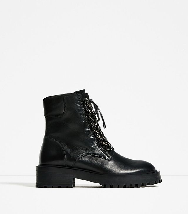 Zara Chain Detail Leather Ankle Boots