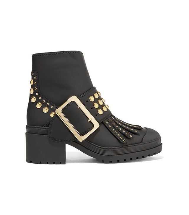 Burberry Prorsum Studded Coated-Leather Ankle Boots