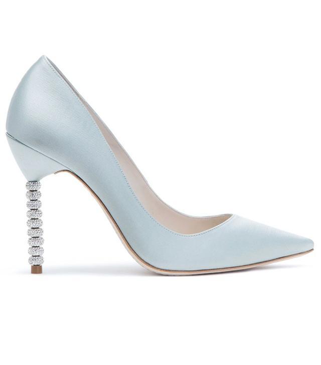 Sophia Webster Coco Crystal Ice Blue Satin Pumps