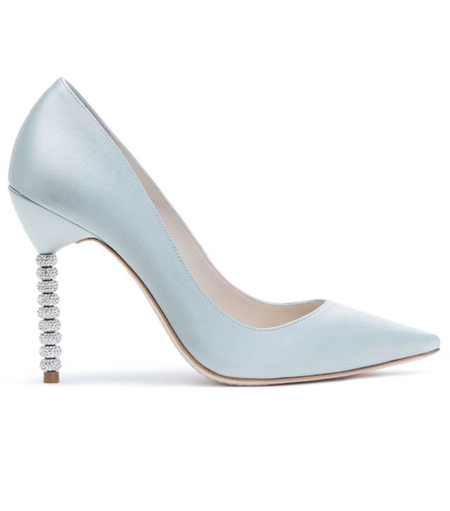 Sophia Webster Coco Crystal Ice Blue Satin Pumps