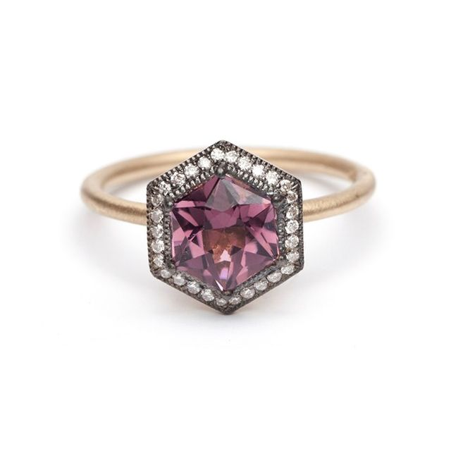 Sofia Kaman Hexagon Halo Ring With Tourmaline
