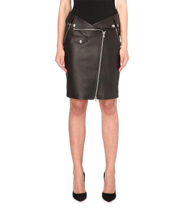 Moschino Biker Leather Pencil Skirt