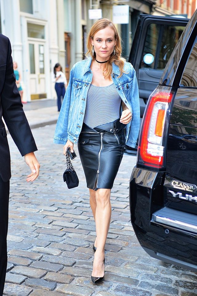 Diane Kruger S Leather Skirt Has A Unique Detail Whowhatwear