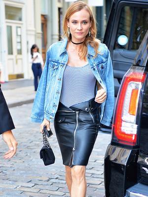 Diane Kruger's Leather Skirt Has a Unique Detail