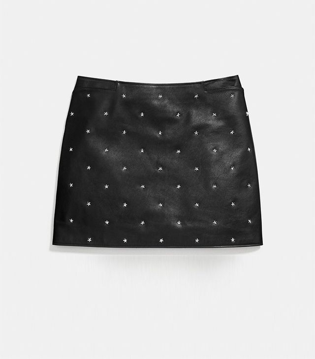 Coach Star Stud Leather Mini Skirt