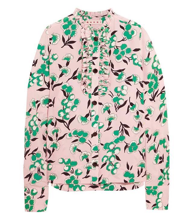 Marni Ruffled Floral-Print Shirt