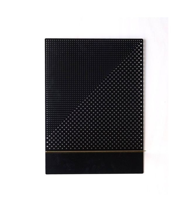 Bride and Wolfe Black Mesh Series Shelf in Black Rectangle with Brass