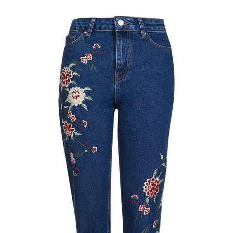 Dark Embroidered Moto Jeans