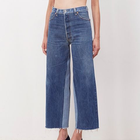 Denim Patch Wide-Leg Jeans