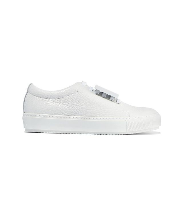 Acne Studios Adriana Plaque-Detailed Textured-Leather Sneakers