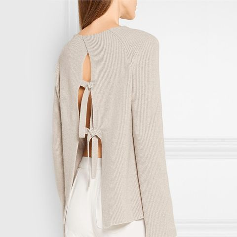 Open-Back Cotton and Cashmere-Blend Sweater