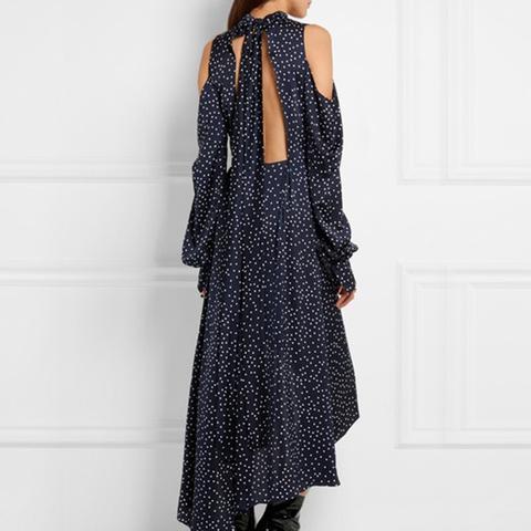 Rennis Open-Back Polka Dot Silk Satin Dress