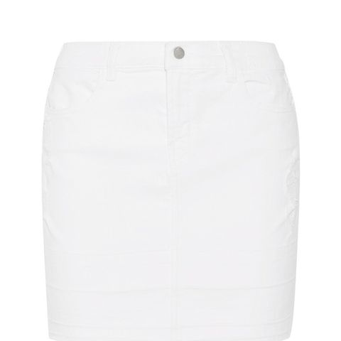 Leila Distressed Stretch-Denim Mini Skirt