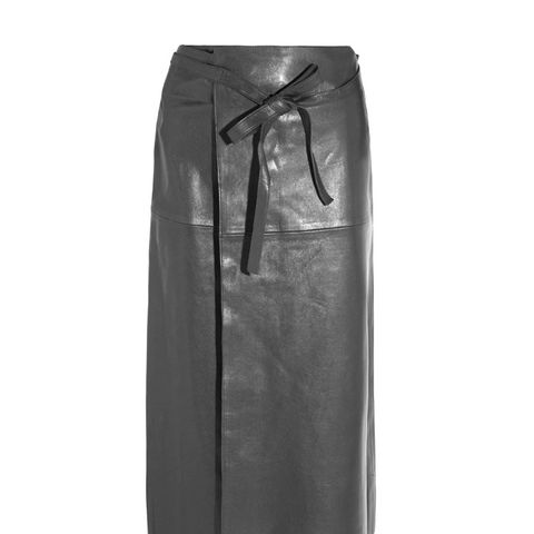 Candy Leather Wrap Skirt