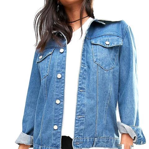 Denim Jacket With Detachable Faux Fur Collar