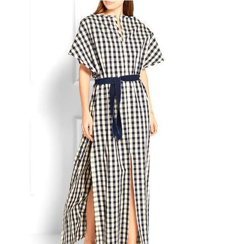 Gingham Cotton and Linen-Blend Poplin Dress