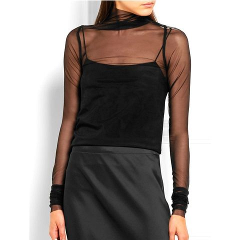 Stretch-Tulle Turtleneck Top