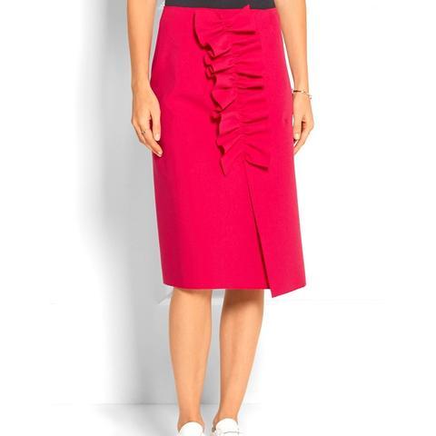 Asymmetric Ruffled Stretch-Crepe Wrap Skirt