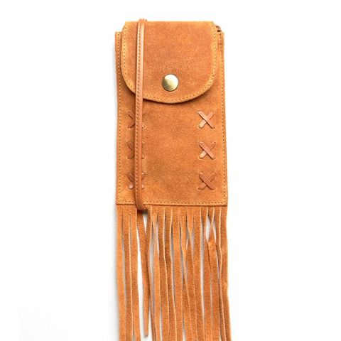 Suede Festival Purse Cross Body Bag With Fringing