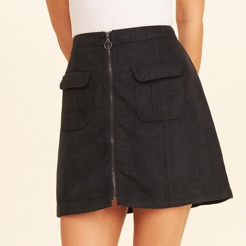 Front-Zip Vegan Suede A-Line Skirt