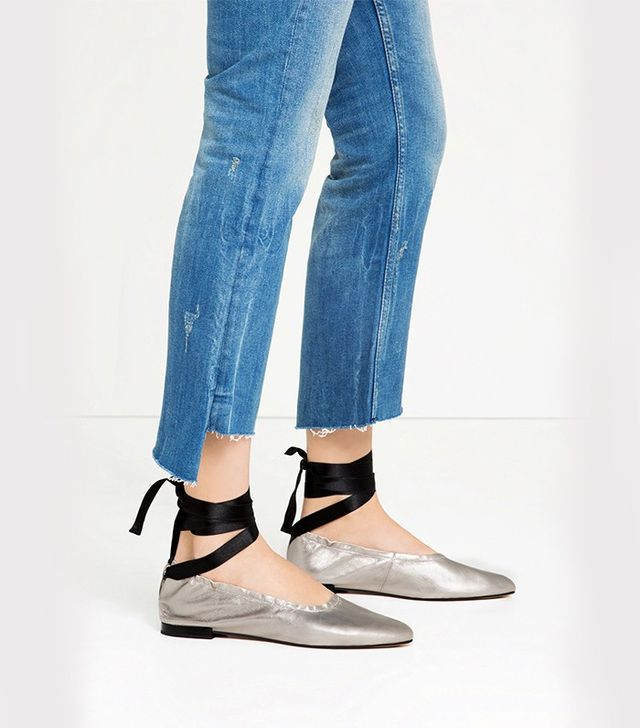 Zara Lace-Up Leather Ballet Flats