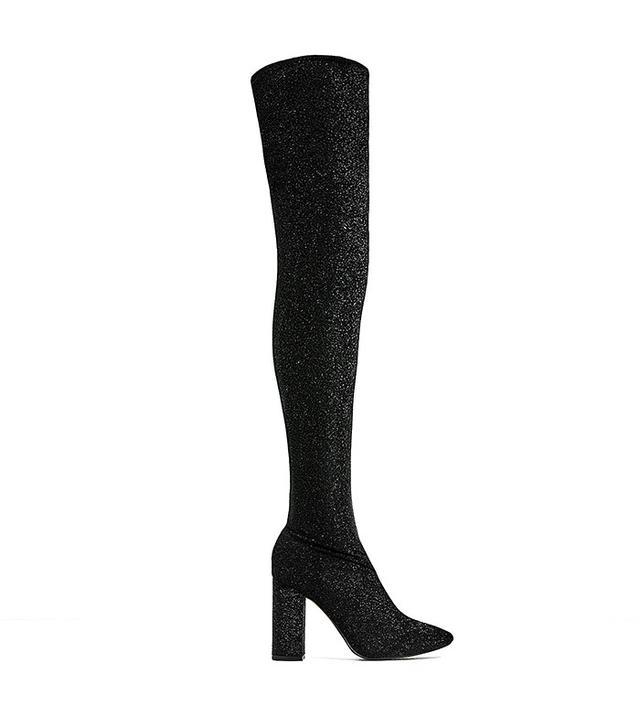 Zara Over-the-Knee High Heel Sock Boots