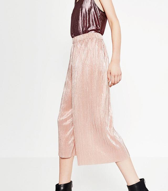 Zara Shiny Cropped Trousers