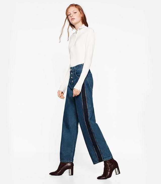 Zara Mom Fit Jeans With Side Stripes