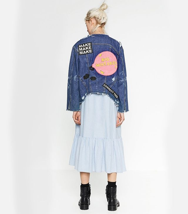 Zara Denim Jacket With Patch at the Back