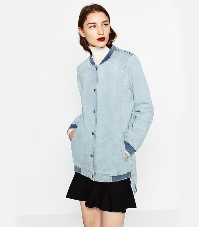 Zara Long Denim Bomber Jacket