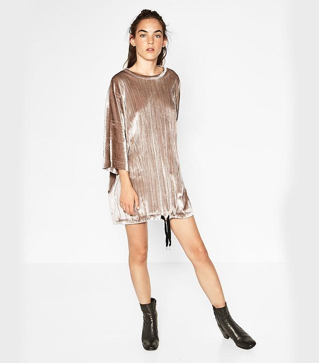 Zara Velvet Sack-Style Dress