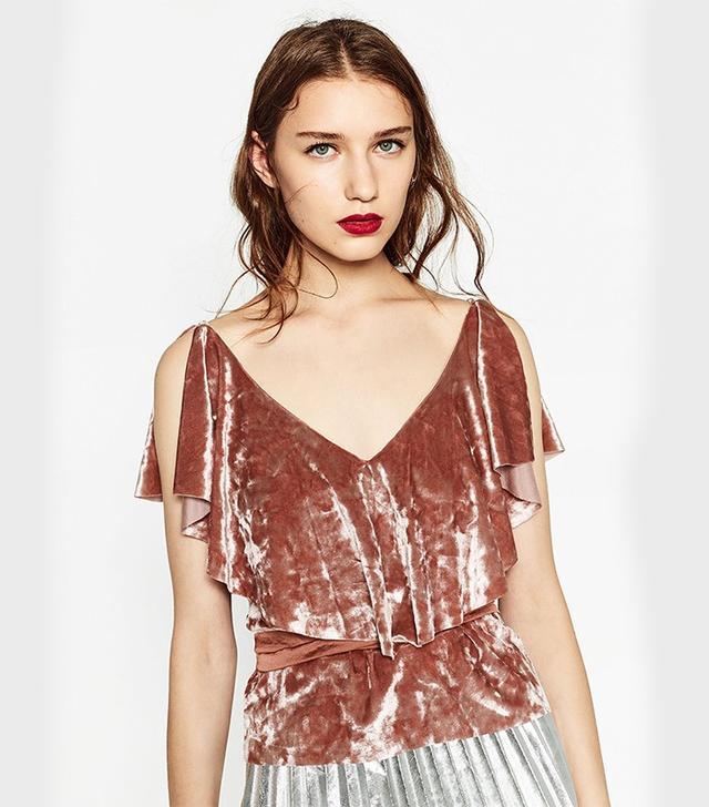 Zara Frilled Velvet Top