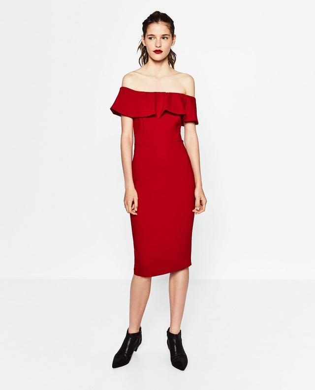 Zara Off-the-shoulder Dress
