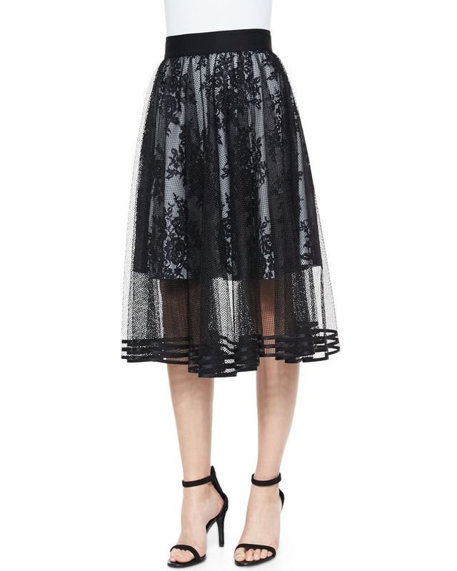 Sachin & Babi Noir Mesh Overlay Tea-Length Ball Skirt