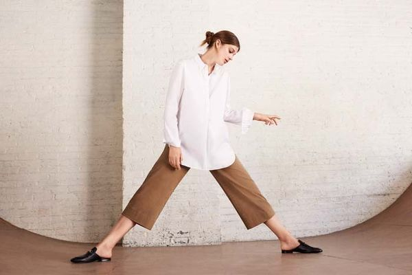 We love how effortless a crisp button-down and wide-legtrouserslook together.