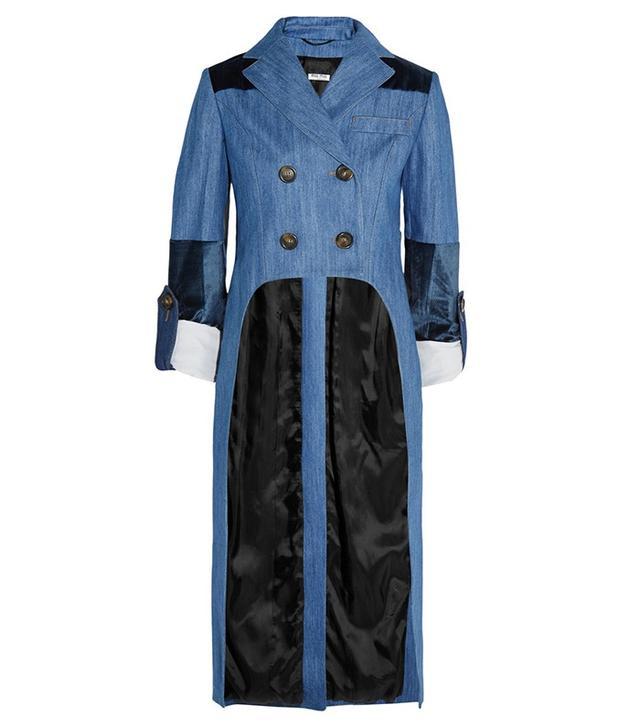 Miu Miu Velvet-Paneled Denim Jacket