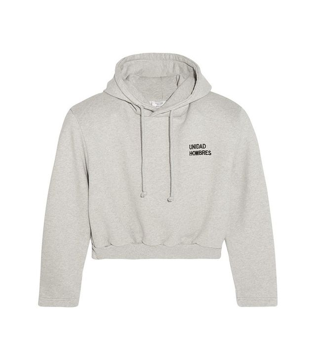 Vetements Cropped Embroidered Cotton-Blend Hooded Sweatshirt